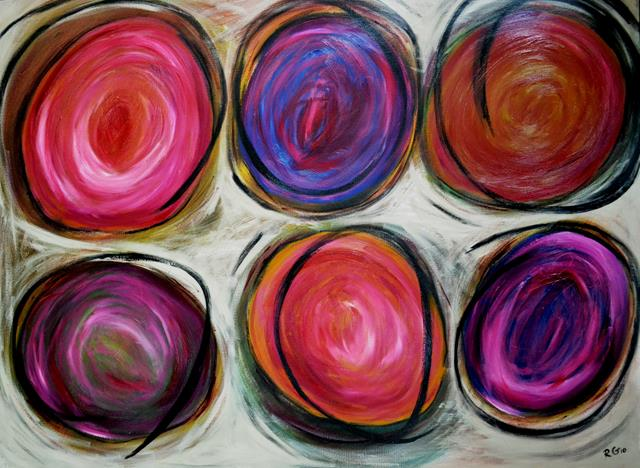 6 large swirling circles in blues, oranges, and purples on a neutral background.