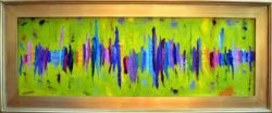 An abstract brightly-colored heart beat or sound wave on a vivid yellow-green background.