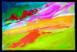 Abstract painting of a melted ice cream