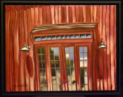 Various red toned oil painting of entrance to Nickel and Nickel winery