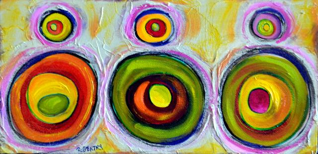 Many brightly colored circles on a neutral background
