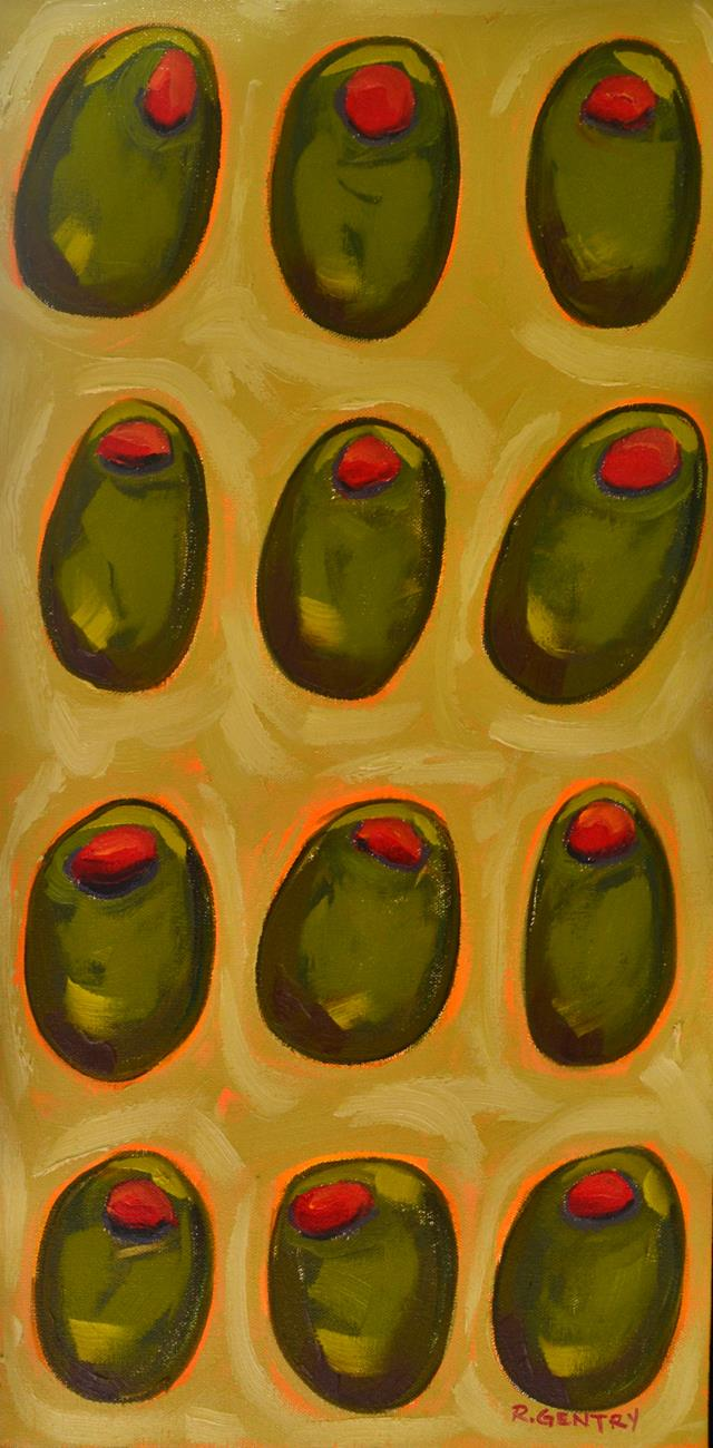 Expressionistic view of 12 arranged olives