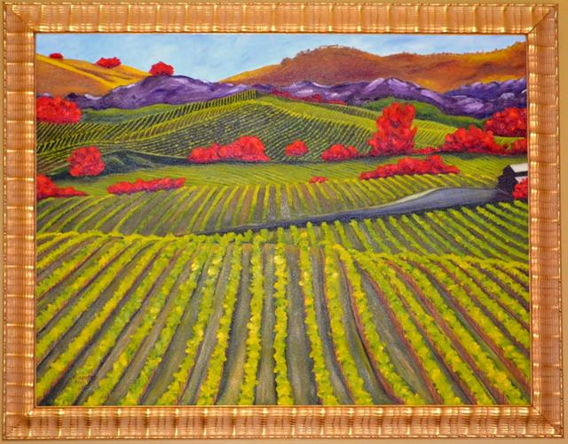 A large expressionistic painting of a Sterling vineyard in Napa Valley, California. The usual rich greens are replaced with red in the trees, purples and golds in the mountains.