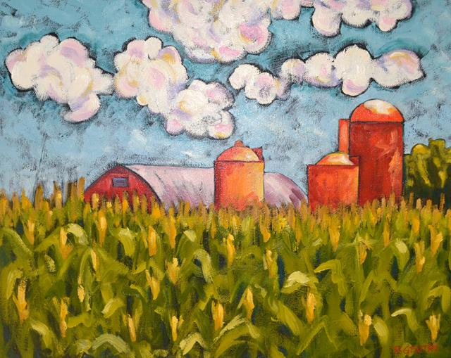 Expressionistic view of an Illinois Farm that survived a tornado.